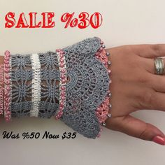 Beaded Crochet Cuff Bracelet Gray Pink Cream Bracelet
