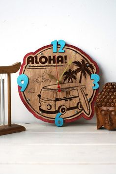 Aloha surfing (Old Surfbus) summer HANDCRAFTED wooden wall clock home decor for bedroom kitchen living room office, personalized engraving custom made gift Wooden Clock, Wooden Walls, Reward Coupons, Custom Made Gift, Major Holidays, Living Room Kitchen, Surfing, Summer, Gifts