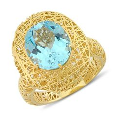 Oval Shaped Checkerboard Cut Blue Topaz Gemstone Interlacement Ring In 14K Yellow Gold $301.00 Blue Topaz Diamond, Topaz Gemstone, Gemstone Jewelry, Diamond Rings, Decorative Bowls, Mesh, Pendants, Jewellery, Yellow