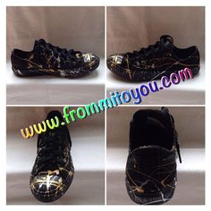 12f7cae3ecb43c Custom silver and gold splatter paint converse Chuck Taylor. Designed by  www.frommitoyou.com