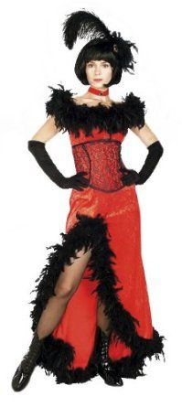 Miss Kitty Deluxe Saloon Girl Costume - Adult Std.   MISS KITTY DELUXE SALOON GIRL COSTUME  Saloon Girl Costume  (Item #TRAD69)  Size: Adult Std.  Includes  headpiece  feather  dress  corset  Sexy Costumes - This Miss Kitty Deluxe Costume features jaunty black feather headpiece, off-the-shoulders red saloon girl costume dress with black feather trim and...