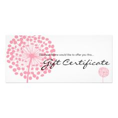 Shop Pink Dandelion Flower Gift Certificate Design created by Personalize it with photos & text or purchase as is! Certificate Design, Certificate Templates, Gift Certificates, Massage Gift Certificate, Gift Voucher Design, Dandelion Flower, Gift Vouchers, Place Card Holders, Create