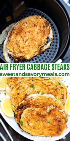Air Fryer Cabbage Steaks are seasoned with Old Bay, parmesan, and spices then air-fried to caramelized, tender perfection. #airfryerrecipes #cabbagerecipees #sweetandsavorymeals #sidedish #airfryercabbage Easy Vegetable Recipes, Vegetable Dishes, Easy Healthy Recipes, Top Recipes, Vegetarian Steak, Vegetarian Cabbage, Vegetarian Recipes, Roasted Cabbage, Cooked Cabbage