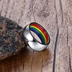 Meaeguet Inside Rainbow Ring For Men Stainless Steel Wedding Ring 8MM Wide Gay Pride LGBT Jewelry - free shipping worldwide