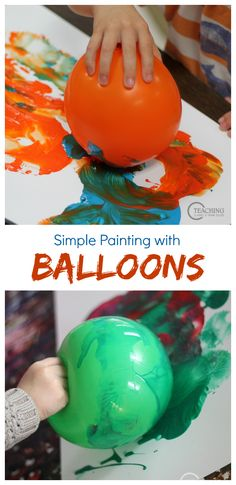 Preschool Art with Balloons - Try this on your easel for additional fine motor fun! Our toddlers love this process art, too. Preschool Painting, Process Art Preschool, Painting Activities, Preschool Art Projects, Preschool Art Lessons, Children Projects, Art With Toddlers, Painting With Toddlers, Art For Kids