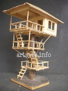 Tree house…constructed just as would a regular tree house. (Made from popsicle… Tree house…constructed just as would a regular tree … Popsicle Stick Houses, Popsicle Stick Crafts, Craft Stick Crafts, Popsicle House, Fairy Tree Houses, Fairy Village, Miniature Houses, House Made, Model Homes