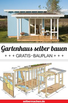 Apr 2020 - Build a garden house yourself: with instructions and blueprint! - Anyone can build simple sheds for garden tools. Our studio garden house, on the other hand, is a re - Indoor Garden, Outdoor Gardens, Home And Garden, Diy Garden, Simple Shed, Design Living Room, Garden Types, Architecture, Garden Design