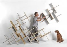 Dynks modular shelving system in birch plywood by Tabanda in 38 New Furniture Products that Range from Delicate to Hearty (June at ♥ Plywood Storage, Plywood Shelves, Modular Shelving, Modular Storage, Shelving Units, New Furniture, Furniture Design, Furniture Storage, Office Furniture