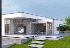 Modern Bungalow House Design, Modern Small House Design, Modern House Facades, Modern Exterior House Designs, Simple House Design, Bungalow House Plans, Minimalist House Design, Modern House Plans, House Outside Design