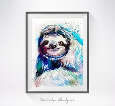 Sloth watercolor painting print animal watercolor by SlaviART