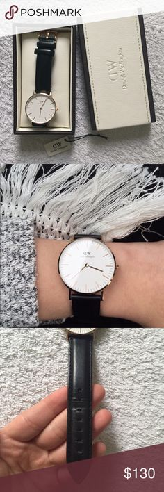 Daniel Wellington Watch I wore it maybe 4 or 5 times and it is in excellent condition still. Some wear is shown on the strap. This is the rose gold watch with the black leather strap. 100% authentic. Classic Sheffield. Daniel Wellington Accessories Watches