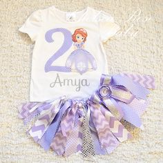 Sofia the First Birthday outfit, Sofia the First Shirt, Fabric tutu outfit, Shabby Chic Birthday, 1st Birthday, baby girl, purple tutu by ChelseaRoseBaby on Etsy https://www.etsy.com/listing/218396073/sofia-the-first-birthday-outfit-sofia