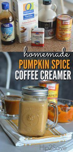 DIY Pumpkin Spice Coffee Creamer Pumpkin Coffee Creamer, Homemade Coffee Creamer, Coffee Creamer Recipe, Spiced Coffee, Pumpkin Spice Latte, Diy Pumpkin, Pumpkin Coffee Recipe, Vanilla Coffee Creamer, Coffee Recipes