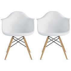 2xhome - Set of Two (2) White - Eames Style Armchair Natural Wood Legs Eiffel Dining Room Chair - Lounge Chair Arm Chair Arms Chairs Seats Wooden Wood Leg Wire Leg Dowel Leg Legged Base Chrome Metal Eifel Molded Plastic 2xhome http://www.amazon.com/dp/B00RF2E72S/ref=cm_sw_r_pi_dp_qixuvb1XZTNBZ