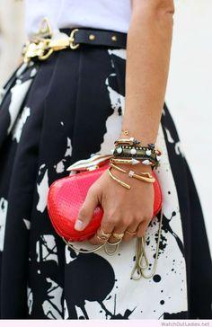 Black, white & red all over, splatter paint skirt & graphic clutch