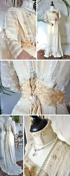 Wedding dress ca. 1909. One piece with high collar and trim of Irish lace (with crocheted flowers) and crocheted balls. Chest and sleeves of fishnet lace. Ivory satin sash with long black streamers. Skirt trimmed with bows of ivory satin ribbon, bands of Irish lace, and crocheted balls. Long back sweep. Back hook & eye closure. Antique Gown