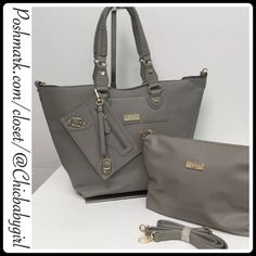 "[BCBG PARIS]TOTE-ACCESSORY 3 BAG BUNDLE Large 3 Bag Ensemble With Tags $168 Retail+Tax   *Tote/Accessory/Wristlet to carry your chic-ness *large tote-whip stitched detail handle/zip closure *Bottom length 11"" *Top length 19"" *Depth 5.5"" *Height 12.5"" *Adjus/remove Shoulder strap *Medium Bag/Zip closure *Top/Bottom 11.5"" *Depth 3"" *Height 9"" *Wristlet/Zip closure 9"" x 5""   2+BUNDLE = SAVE  ‼️NO TRADES--NO HOLDS  ✈️Ship Same Day--Purchase By 2PM PST  USE BLUE OFFER BUTTON TO NEGOTIATE   ✔️Ask…"