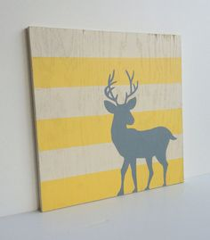 Woodland Nursery Art Yellow and Gray Nursery by SweetBananasArt