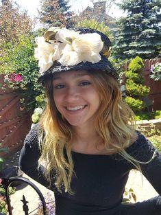 bf3d4a3476e4c Cloche Hat, Small, Vintage Cloche, Cloche, Navy Blue, Tea Party Hat, Womens  Hats, 1920s Cloche, Floral Hats, Victorian Hats, Church Hat