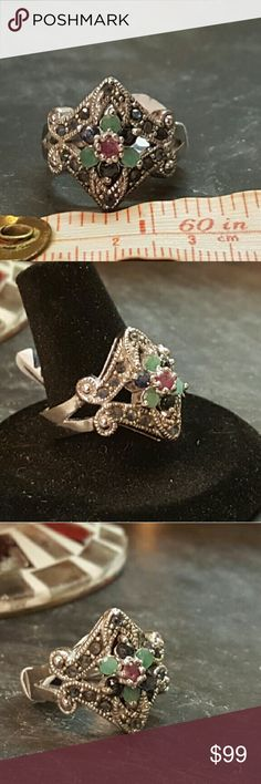 💕 Emerald,  Ruby & sapphire ring Authentic,  emerald,  Ruby and black sapphire set in a handcrafted marcasite setting. Size 7 NWOT Robin's Nest Jewels  Jewelry Rings