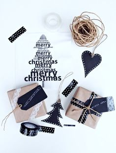 black and white and neutral. lovely wrapping ideas