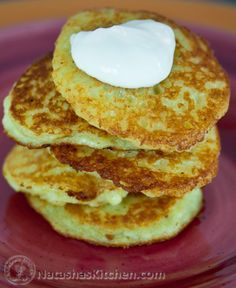 These aren't the potato pancakes I posted earlier which used left-over mashed potatoes. These are finely grated, raw potatoes and onion.It's a classic Ukrainian dish called Deruny. Our moms still make these regularly.This is actually Vadim's post. He combined both our family recipes and it...