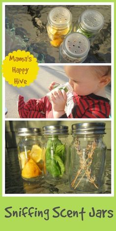 Small scent jar sensorial activity for young toddlers. Montessori Inspired Scent Jars - www.mamashappyhive.com.jpg