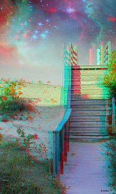 A 3D stereo anaglyph image captured at the North Carolina's Outer Banks with wooden stairs access to the beach. I replaced the blank sky with a cosmic nebula version.  To view the 3D effect, Red/Cyan filtered 3D glasses are required. These are inexpensive and may be obtained online. I recommend, Rainbow Symphony, or American Paper Optics.  When you think about it, we all make our own heaven or hell. The idea of this piece is to remind us of that notion.
