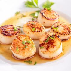Seared White Wine Scallops