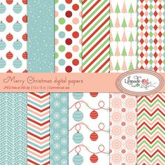 Merry Christmas digital papers Christmas scrapbook by bylilmade