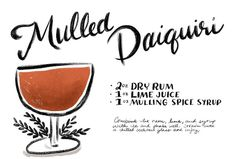 #Fall #Cocktail Recipes: Mulled Daiquiri with Cinnamon, Nutmeg, and Fall Spices: http://ohsobeautifulpaper.com/2014/11/friday-happy-hour-mulled-daiquiri-cocktail-recipe/ | Illustration: Shauna Lynn for Oh So Beautiful Paper #OSBPhappyhour