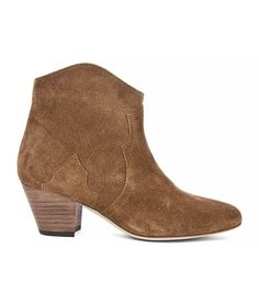 Isabel Marant Dicker Velvet Booties in Camel
