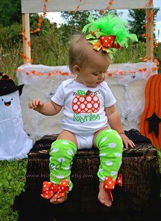 Chuncky Pumpkin Fall/Halloween/Thanksgiving Onesie OTT Hair Bow and Leg Warmers Set