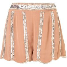 **Sequin Stripe Shorts by Rare ($10) ❤ liked on Polyvore featuring shorts, bottoms, pink, high rise shorts, striped high waisted shorts, striped shorts, pink high waisted shorts and highwaist shorts