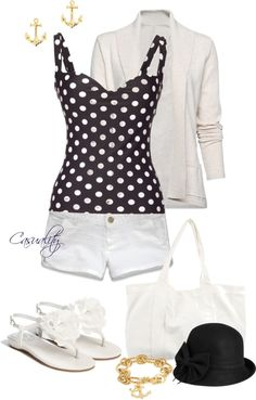 """Poka-dots & Anchors"" by casuality ❤ liked on Polyvore"