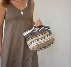 Handbag  cotton purse with stripes in brown beige by Loulalalou, $40.00