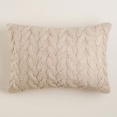 Taupe Hand-Knit Lumbar Pillow | World Market 14x20 $25