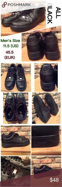 Men's Nike Air Force Shoes (all black) Nike Air Force. All black. Men's size 11.5 (US). 45.5 (EUR). Insoles and soles are in good condition. Very gently used. Great condition overall! NO issues. Nike Shoes