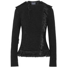 Lanvin - Fringed Alpaca-blend Jacket (99.455 RUB) ❤ liked on Polyvore featuring outerwear, jackets, black, lanvin, slim fit jackets, double breasted jacket, tailored jacket and slim jacket
