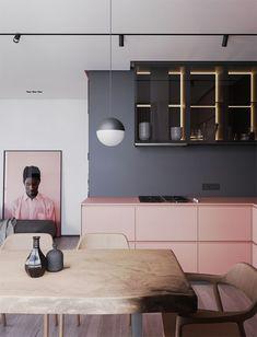 Décor do dia: cozinha minimalista combina preto, cinza e rosa. Linhas retas e móveis de madeira trazem modernidade e conforto para cozinha integrada. assinada por Ruslan Kovalchuk, Mariya Chmut e Stephen Tsimbalyuk. (Foto: Divulgação)