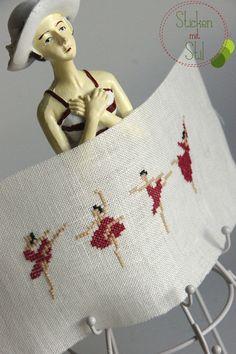 Kissen - Stickbild Balletttänzerinnen, pink - ein Designerstück von StickenMitStil bei DaWanda                                                                                                                                                      Mehr