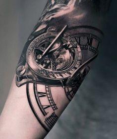 Sundial Clock Tattoo For Men