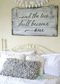 """""""And the two shall become one"""" Wood Sign {customizable} Aimee Weaver Designs, LLC has personalized, custom, hand painted reclaimed barn wood signs and home decor ideas. Pallet Crafts, Pallet Art, Wood Crafts, Diy Crafts, Diy Wood, Diy Pallet, Handmade Crafts, Pallet Walls, Pallet Ideas"""