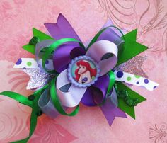 Ariel Hair bow Little Mermaid hair bow Disney hair by JaybeePepper, $13.00