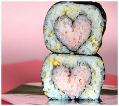 Heart shaped Sushi..haha..I'm usually not a fan of food in heart form (besides cookies)..but this would be pretty sweet.