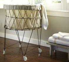 Ticking fabric laundry basket pottery barn