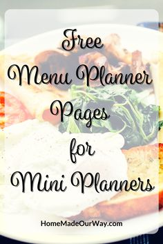 Free and Simple to Use Menu Planner for Mini Binders at www.homemadeourway.com/menu-planner-mini-binders