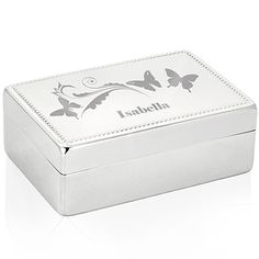 Personalised Butterfly Swirl Rectangle Jewellery Box from Personalised Gifts Shop - ONLY Personalized Gifts For Kids, Personalised Box, Personalised Jewellery, New Baby Presents, Girls Jewelry Box, Soap Favors, Unique Baby Shower Gifts, Gifts For Your Girlfriend, Engraved Gifts