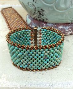 SALE** Peyote Stitch Beaded Bracelet ~ Rustic Turquoise-colored Cuff ~ Antique Brass ~ Seed Bead Beauty~ Peyote Chic by Country Chic Charms
