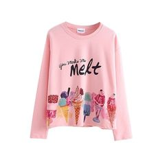 Round Neck Long Sleeve Cartoon Ice Cream Print Tee (€13) ❤ liked on Polyvore featuring tops, t-shirts, pink tee, long sleeve t shirt, round neck t shirt, print comic book and long sleeve tee